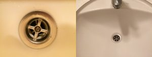 douche en wastafel tegelijkertijd verstopt in de badkamer